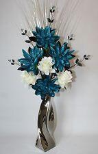 Artificial Flowers Teal Silk Lily & Cream Dragon Flower Arrangement in Vase-85cm