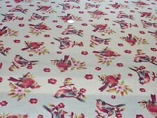 STRETCH VISCOSE JERSEY-BIRD PRINT-FLESH/WINE/PINK/GREEN DRESS FABRIC-4.2 METRES