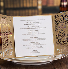 60PCS Printing Personalized Gold Wedding Invitations Cards & Envelopes & Seals