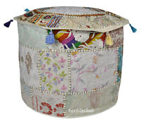 """22"""" White Vintage Indian Ottoman Stool Cover Patchwork Footstool Decor Pouf"""