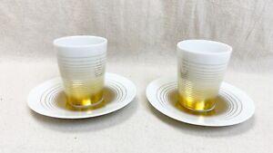 Bernardaud Set of 2 Gold Loop handle-less Espresso cups with saucers Limoges