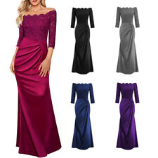 Long Lace Bridesmaid Dress Formal Ball Gown Evening Party Cocktail Prom Dress