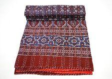 Indian Kantha Quilt Ajrakh Print Floral Patchwork Bedspread Blanket Queen Throw