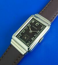 Stunning Vintage 1930s Mans Gruen Hand Winding Brown Tone Dial Serviced