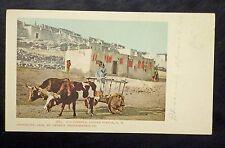 {BJ STAMPS} Old Carreta, Laguna Pueblo, NM  Postcard CLEAN Bulls pulling Cart