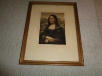 Antique framed Lithograph 1870's Mona Lisa gold gilt wood frame Leonardo Da Vinc