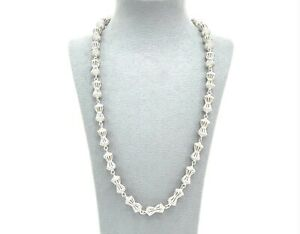 925 Sterling Silver White Gold Finish IceJewlz 36 inch Sparkly Lab Diamond Chain