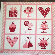 "1 Sweet MODA ""Candy Kisses"" Cotton Fabric Quilting Valentine Crafting Panel"