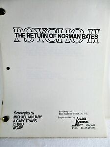 "MOVIE ""PSYCHO II, THE RETURN OF NORMAN BATES"" SCREENPLAY, 1980"