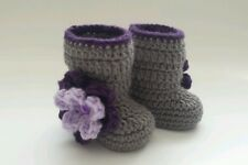 Newborn Baby Girl Crochet Gray and Purple Boot Booties Photo Prop Gift Outfits