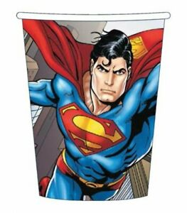 Superman Party Cups 8pk 266ml - Superman Party Supplies