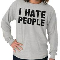 I Hate People Funny Introvert Antisocial Cute Long Sleeve Tees Shirts T-Shirts