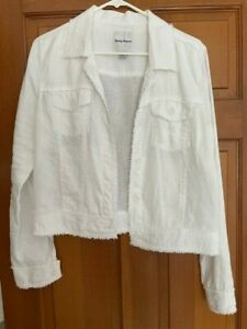 Tommy Bahama Two Palms Linen Raw-Edge Jacket; White; Women's Small