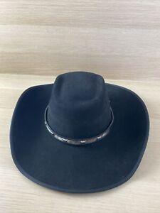 NWT SerratelliBlack 6X Black Beaver Long Oval Western Hat Men's Size 7 1/4