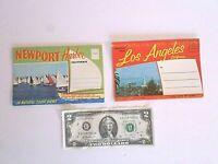 2 Vintage California Foldout Postcard-1950's Newport Harbor & 1960's Los Angeles