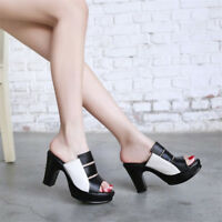 Fashion Women Platform Colorblock Block High Heels Peep Toe Sandals Casual Shoes