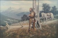 "MUSEUM QUALITY WESTERN MOUNTAIN LANDSCAPE PAINTING WITH MOUNTAIN MAN BY ""MILLS""!"