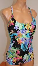 NWT Island Escape Swimsuit Tankini Top Size 14 Push Up Strappy  Back BLK/Blue