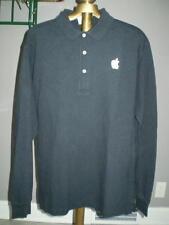 Apple Logoed Black Long Sleeve Polo Shirt - Medium