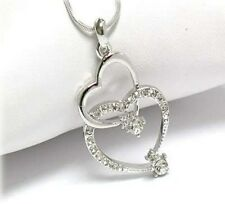 NEW WHITE GOLD DOUBLE HEART TWO HEARTS DUAL OPEN HEART CRYSTAL LINK NECKLACE