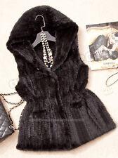 100% Real Genuine Knitted Mink Fur Vest Coat Sweater Gilet Waiscoat Hoody Women