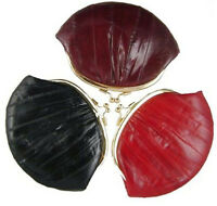 EEL SKIN LEATHER WOMEN'S COIN PURSE CHANGE HOLDER DOUBLE FRAME SMALL