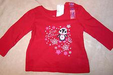 NWT Infant Girls TCP Christmas LS Shirt 9m - 12m Red Penguin Chillin 9-12m NEW