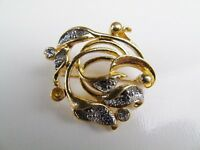 VINTAGE GOLD TONE MOVITEX FLORAL FLOWER GEM SET LADIES COSTUME BROOCH