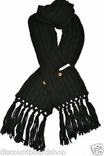 Roxy TELL ME Black Double Knotted Tassels Hand Warmer Accessory Pocket Scarf
