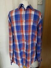 Crew Clothing Co Men's checked shirt tailored fit size Large L.Blue/orange check