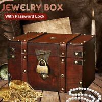 Vintage Wooden Storage Jewelry Box With Password Lock Treasure Chest Case Gifts