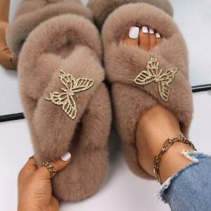 Butterfly Insect Appliques Decor Faux Fur Sandals Home Slippers Winter Shoes New
