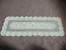 """Collectible Beautiful Heritage Lace Doily Table Runner Off White 50x17"""" NICE"""