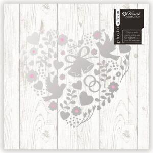 "White Wedding Photo Album Silver Heart Design Holds 200 4 x 6"" Photographs CEBY"