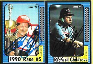 DALE EARNHARDT SR -- RICHARD CHILDRESS  -  Autographed Cards