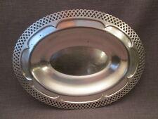 plat creux ancien en métal argenté,rebord ajouré
