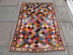 Vintage Traditional Hand Made Rug Oriental Blue Pink Wool Gabbe Rug 140x98cm