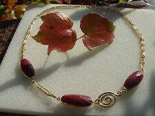 Gold Collier mit Rubin, 585 Gold Filled, mit Spirale in schönem Design