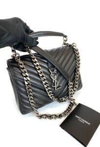 Saint Laurent College 100% Authentic Monogram Shoulder Bag, Size Medium - Black