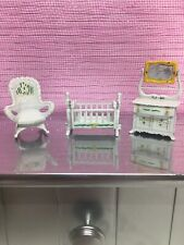 Dollhouse Furniture Set for Nursery Baby Bedroom White Floral Rocking Chair Crib