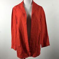 Coldwater Creek 10P Blazer Jacket orange red linen open front career half lined