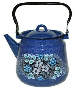 BLUEBERRY Enameled Kettle. Sturdy Durable, Made in Russia, 3.7 qt, ALL STOVES OK