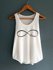 Women Ladies Summer Off White Cotton Graphic Love Sleeveless Vest Top Cami