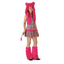 Cute PINK LEOPARD M 8-10 Deluxe Girl's Cat Costume W/ Furry Hood Leg Warmers NEW