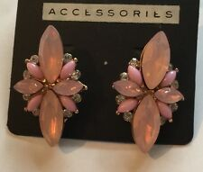 Pink Party Occasions Crystal Diamante Bollywood  Stud Butterfly Earrings Bling