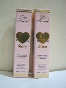 Lot Of (2) Too Faced ~ Lip Insurance Glossy ~ Anti-Feathering Boosting Primer