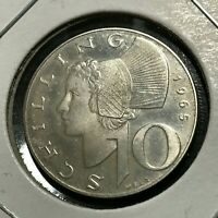 1965 AUSTRIA SILVER 10 SCHILLING PROOF LIKE  UNCIRCULATED
