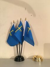 ASTURIAS TABLE FLAG SET of 3 flags and base