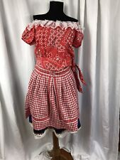 Adult Country Western Rock Square Dance Costume Dansco Top + Skirt + Apron S/M