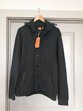 MENS HUGO BOSS GREEN Casual Knit JACKET with Hood  NWT Button Front Long Sleeves
